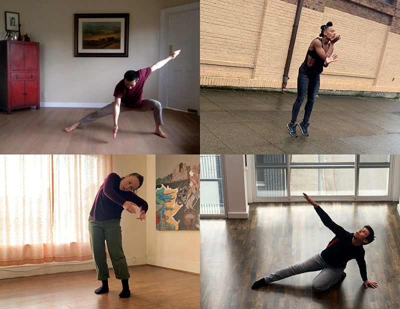 photo compilation of four dancers in Zoom squares