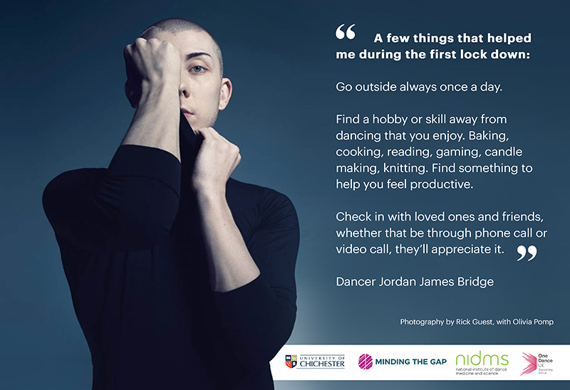 Image of a dancer with text about mental health