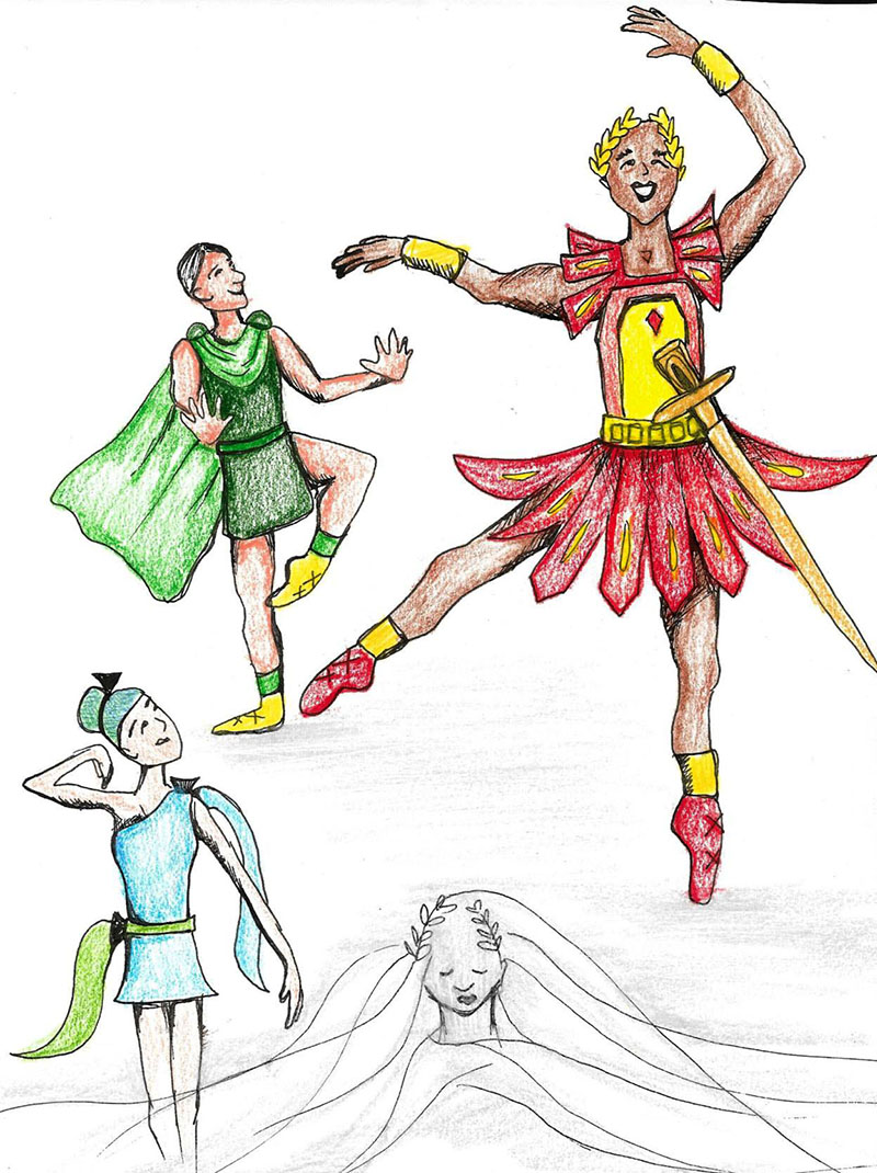 illustration of four dancers from fake Ides of March ballet