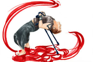 Illustration of Toby Macnutt leaning on crutches