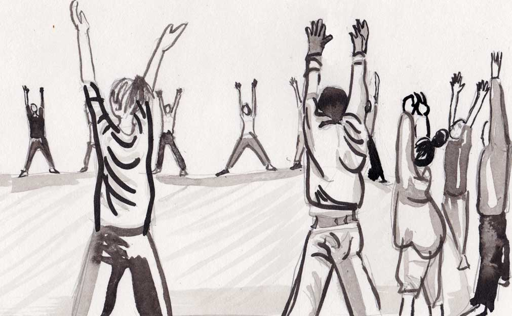 illustration of people standing in a circle with arms raised