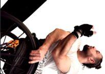 Kadar Khristan in his wheelchair sideways