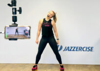 Alexandra teaching Jazzercise
